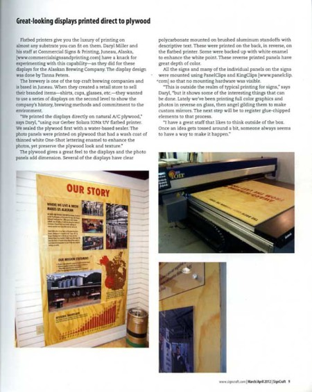 Our Solara UV inkjet prints for the Alaskan Brewing Co. were featured in Sign Craft magazine, an international journal for the sign industry.